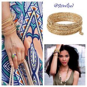 stella & dot gold bardot spiral bangle bracelet